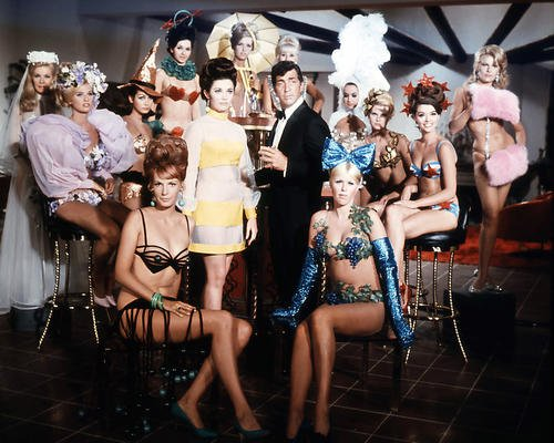 Dean Martin 16x20 Poster as Matt Helm in The Ambushers surrounded by girls at bar - Ambushers Poster