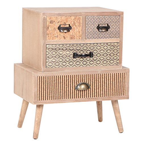 Storage Cabinet Made Of Paulownia Wood Purely Handmade With Legs And 4 Drawers by VIVA HOME