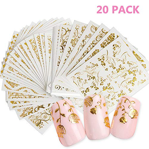 (Daimay 20 PCS 3D Bronzing Nail Sticker Gold Nail Art Sticker Shinny Nail Decals Nail Art Tattoo Gold Glitter Adhesive Flower Vine - Random Pattern )