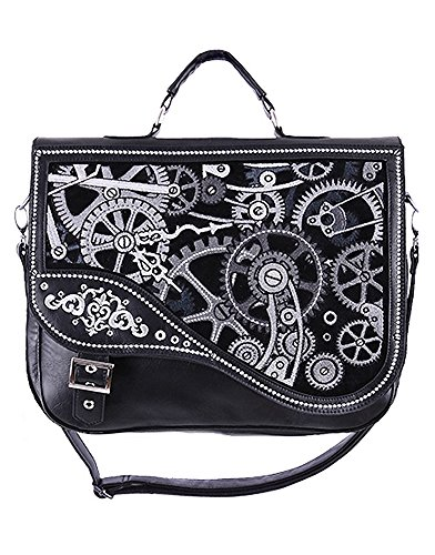 Sac cartable noir mécanisme engrenage d'horloge steampunk