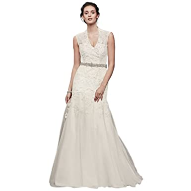 c6fcde51a19 Melissa Sweet Cap Sleeve Lace Wedding Dress Style MS251005 at Amazon  Women s Clothing store