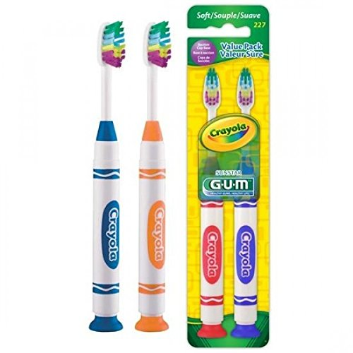 Sunstar 227P GUM Crayola Marker Suction Cup Toothbrush (Pack of 12)
