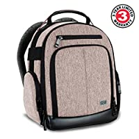 USA Gear Digital Camera Backpack with Customizable Accessory Dividers, Weather Resistant Bottom, Comfortable Back Support for Canon EOS T5 / T6 - Nikon D3300 / D3400 and More SLRs! by USA GEAR