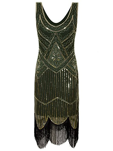 Vijiv Women's 1920s Gastby Inspired Sequined Embellished Fringed Flapper Gold Green XL -