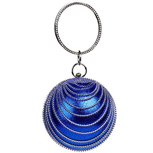 embrague bola de de banquete de silver las Bag rhinestones bolso señoras tarde la forma forma bolso la de los de Wgwioo de 25 de boda del x 13cm blue de la cristales 7qUw0R0