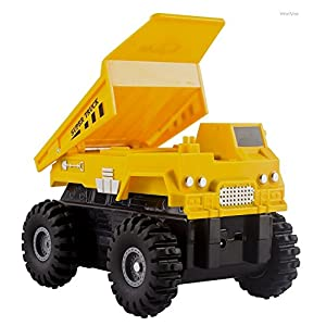 WolVol 4-in-1 Construction Bulldozer Dump Mixer Crane Take Apart Truck Toy with Remote Control and Recording Function