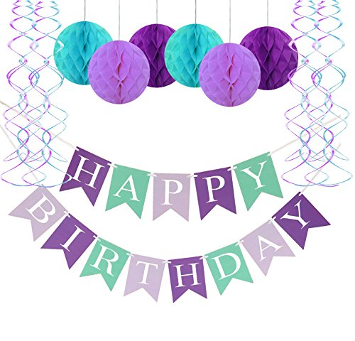 FECEDY Mermaid Happy Birthday Banner Hang Honeycomb Ball Swirls Streamers for Birthday Party Decorations