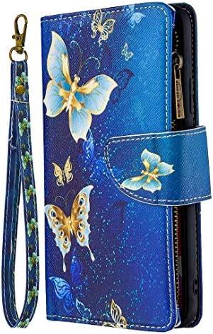 A21s Handyhülle für Samsung Galaxy A21s Malen Muster Reißverschluss Hülle Ledertasche Weich TPU Klapphülle Kartenfach Handytasche Skin Ständer mit Trageband Schutzhülle Schale Bumper Mädchen Blauer