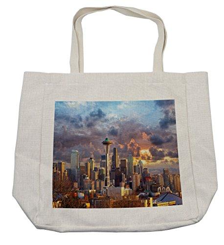 Lunarable USA Shopping Bag, Seattle Skyline at