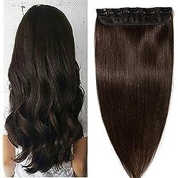 "Clip in hair extensions human hair one piece human hair extensions 5 clips 100% Remy Human Hair Straight Dark Brown 16""(40cm) - 45g"