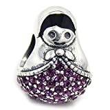 """925 Sterling Silver """"Russian Nesting Doll w/ Light Purple CZ"""" Charm Bead 127 Compatible with PANDORA"""