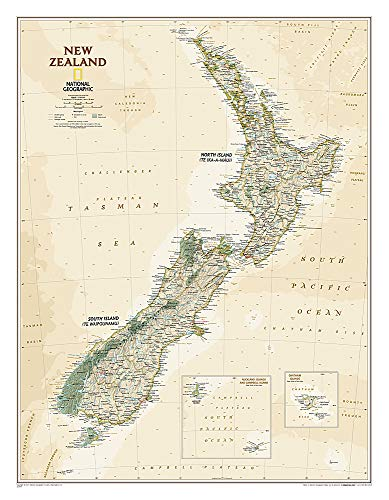 National Geographic: New Zealand Executive Wall Map - Laminated (23.5 x 30.25 inches) (National...