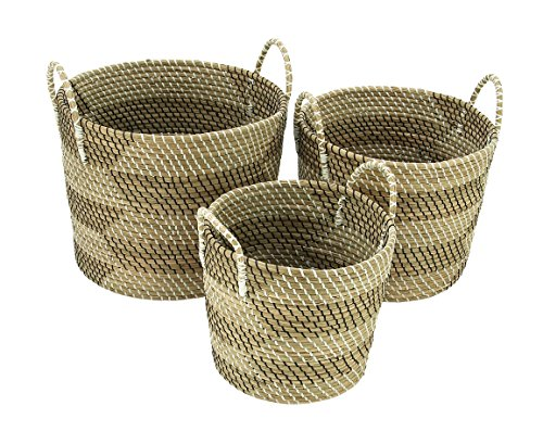 Deco 79 Coastal Dried Water Hyacinth Wicker Baskets, 1 H x 20 L, Light Brown - Color: silver Finish: polished, textured Material: aluminum - living-room-decor, living-room, baskets-storage - 51qhpQ7hHnL -