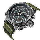 Watch, Watch Men Digital Analog Sport Waterproof Watch,Multifunction LED Date Alarm Leather Wrist Watch (Green)