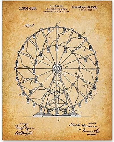 (Ferris Wheel/Amusement Apparatus - 11x14 Unframed Patent Print - Makes a Great Gift Under $15 for Amusement Park Fans)