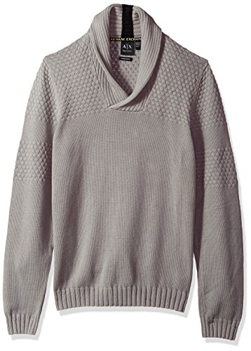 Men's Textured Knit Shawl Collar Sweater, Wild Dove, Small ()