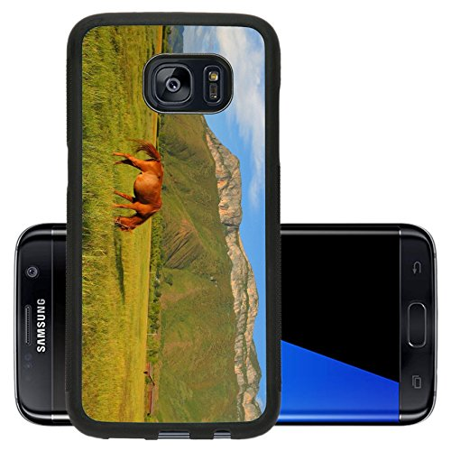 Luxlady Premium Samsung Galaxy S7 Edge Aluminum Backplate Bumper Snap Case IMAGE ID: 34361930 Brown horse eating grass on the pasture with the beautiful Gemu holy mountain in the - Chino Mobile Hills T