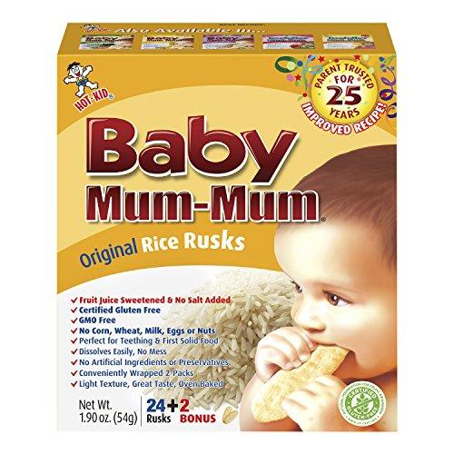 Hot-Kid Baby Mum-Mum Rice Rusks, Original, 24 Pieces (Pack of 6) Gluten Free, Allergen Free, Non-GMO, Rice Teether...