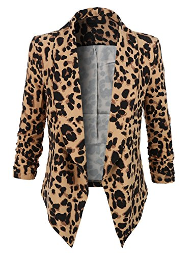 Kenliee Womens Ultra Lightweight Summer Open Front Draped Tuxedo Blazer RBKWJC2103_LEOPARD XX-Large