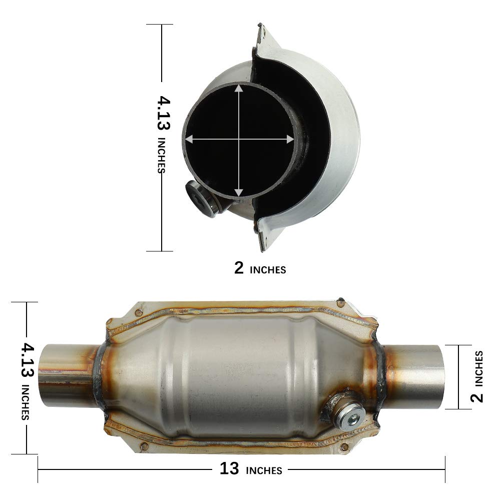 MAYASAF Universal Catalytic Converter 2 Inlet//Outlet with O2 Port EPA Compliant