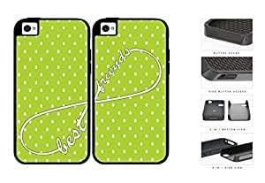 Lime Green Polka Dot Infinity Best Friends Set 2-Piece Dual Layer High Impact Rubber Silicone Cell Phone Case Apple iPhone 4 4s