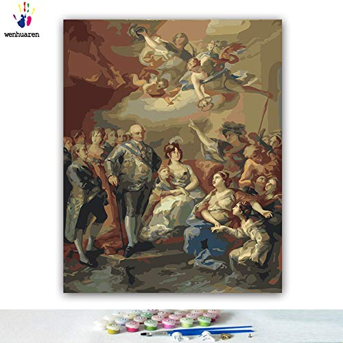 Paint by Number Kits Canvas DIY Oil Painting for Kids, Students, Adults Beginner with Brushes and Acrylic Pigment -Spanish Family Pays Homage to Charles IV and his Family (21358, 24x30 no Frame)