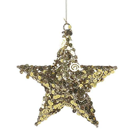 Factory Direct Craft  Group Of 4 Glitzy Gold Sequin Metal Star Ornaments For Tree Trim  Package Embellishments And Displaying