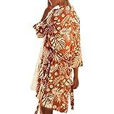 Kimono Cardigan Womens Leaf Print Cover Blouse Swimsuit Smock Tops (XL, Orange)