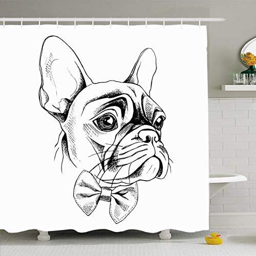(Ahawoso Shower Curtain 66x72 Inches Graphic Frenchie French Bulldog Profile Tie Wildlife Dress Dog Drawn Hand Bowtie Bow Design Head Waterproof Polyester Fabric Set with Hooks)