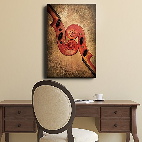 Violin Pair with Brown Textured Background