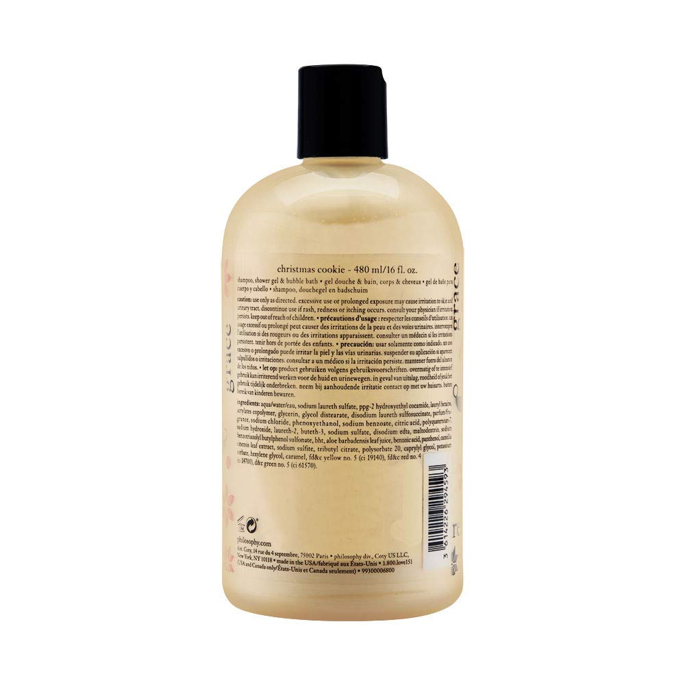 Philosophy Christmas Cookie for Women 16 Oz Shampoo Shower Gel and Bubble Bath, 16 Ounce