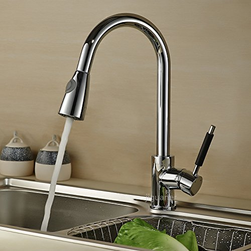 Curved Pipe Pull Type Double Water Washing Basin redating Hot and Cold Copper Faucet