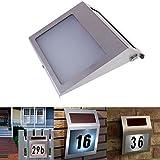 Vanpower Stainless Solar Powered 3LED Illumination Doorplate Lamp House Number Light
