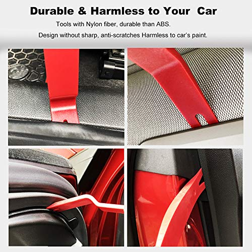 GLK Car Trim Removal Tool Door Panel Removal Tool for Car Radio Clips Window Molding Upholstery Marine Fastener Removal and Installation with Storage Bag Nylon Pry Tool 19PCS(red) by GLK (Image #3)