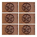 InterestPrint Western Texas Star in Wood Place Mats Heat-Resistant Placemats Stain Set of 6 Resistant Anti-Skid Washable Fabric Placemat Table Mats, 12''x18''