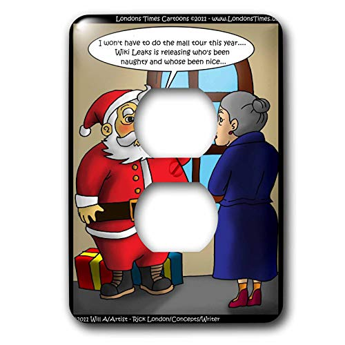 3dRose Londons Times Gen. 2 Holidays Christmas - Santa Wiki - Light Switch Covers - 2 plug outlet cover (lsp_15624_6)