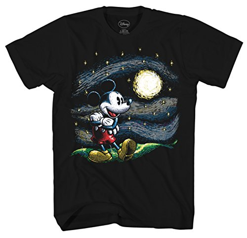 Disney Mickey Mouse Starry Night Men's Adult Graphic Tee T-Shirt (Black, Large)