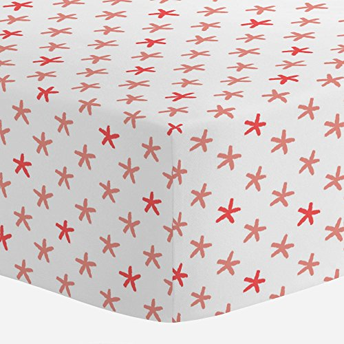 Carousel Designs Light Coral and Coral Starfish Crib Sheet - Organic 100% Cotton Fitted Crib Sheet - Made in The USA