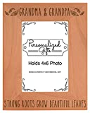 Grandparents Picture Frame Grandma Grandpa Strong Roots Grow Beautiful Leaves Best Grandma Gifts Natural Wood Engraved 4x6 Portrait Picture Frame Wood