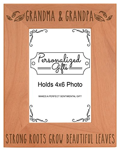 (Grandparents Picture Frame Grandma Grandpa Strong Roots Grow Beautiful Leaves Best Grandma Gifts Natural Wood Engraved 4x6 Portrait Picture Frame Wood )