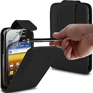 ONX3 Samsung Galaxy Y S5360 PREMIUM PU Caso del tirón del cuero Negro + Negro Alto capacitivo Stylus Pen + X3 Protector de pantalla Guardia
