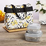 Fit & Fresh Danville Lunch Kit for Women with BPA-free Food Containers, Floral Yellow