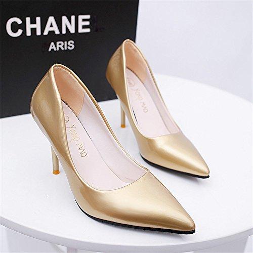 TMKOO El nuevo club nocturno atractivo de alta con escogen los zapatos finos con la boca baja señaló modelos de zapatos de tacón alto de explosión Gold