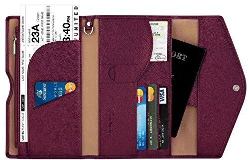 king Passport Holder Wallet & Travel Wallet Envelope 7 Colors (wine red / burgundy) (Wine Colour)