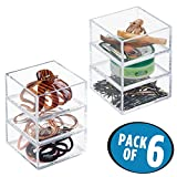 mDesign Hair Accessory Stacking Cube Organizers for Bathroom Vanity Countertop, Bedroom - Pack of 6, Clear