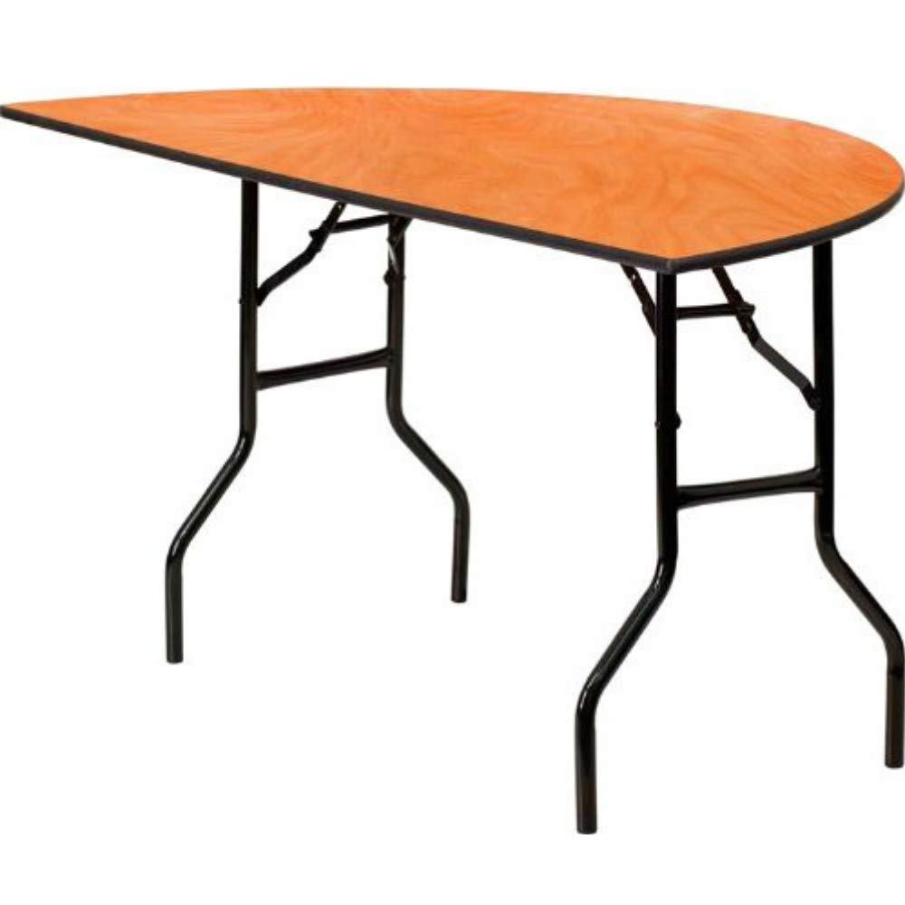 Commercial Folding Table Semi-Circle Wall Table Seats up to 5 Restaurant Hotel Training Room Break Room Conference Room Lecture Hall Seminar Laminate Top Metal Leg Utility Hobby Table &eBookbyBADAshop