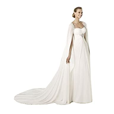 White Cathedral Length Chiffon Womens Lace Wedding Cloak Bridal Cape (Ivory, one size)