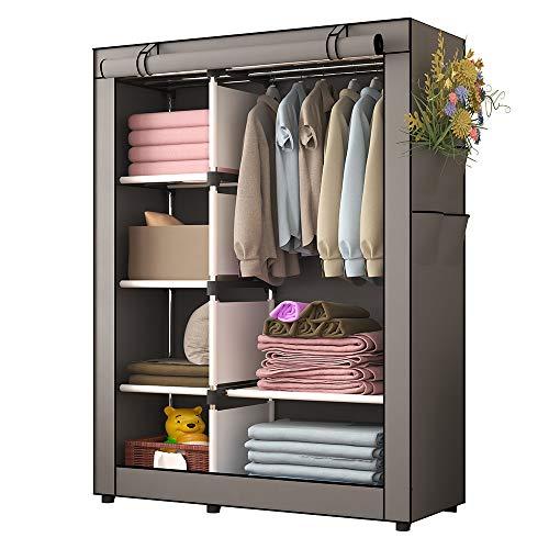 UDEAR Portable Clothes Closet Wardrobe Storage Organizer with Shelves and Side Pockets Grey