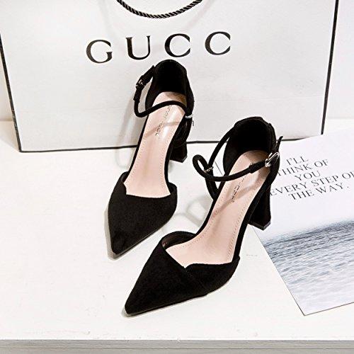 ZHZNVX La versión coreana de los zapatos de tacón alto delgado video sexy zapatos de tacón zapatos de mujer de tacón alto espesor con luz de satén rojo hueco de la punta de la boquilla del matrimonio black