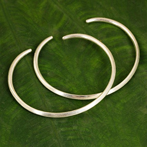 NOVICA .925 Sterling Silver Cuff Bracelet, 'Moonbeams' (Pair) by NOVICA (Image #3)